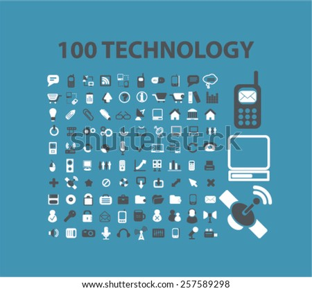 100 technology, communication, connection, phone,mobile, smartphone isolated icons, signs, silhouettes, illustrations,  set, vector - stock vector