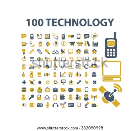 100 technology icons, signs, illustrations set, vector