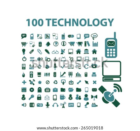 100 technology, information, internet icons, signs, illustrations set, vector - stock vector