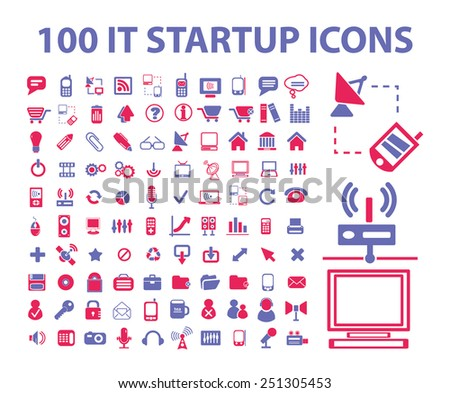 100 technology, information, mobile, smartphone isolated design flat icons, signs, illustrations vector set on background
