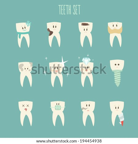 teeth  icon set, (concept of healthy)  vector illustration, flat design - stock vector
