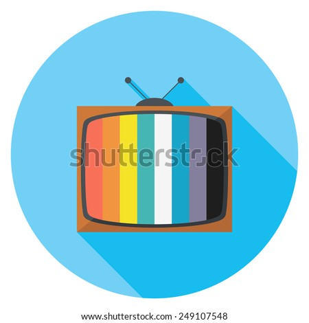 Television flat icon. Modern flat icons with long shadow effect in stylish colors. Icons for Web and Mobile Application. EPS 10. - stock vector