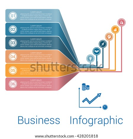 Template Infographic Lines Strips Perspective six position.  - stock vector
