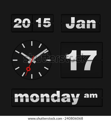 Template of flip date and analog clock. Vector illustration. - stock vector