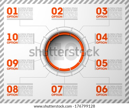 10 ten components make up something. Modern business circle origami style options banner. infographics vector, workflow layout, diagram, number options, step up, web design  load speaker dynamic - stock vector
