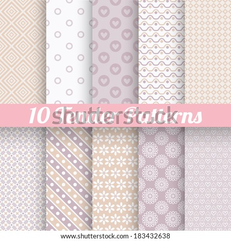 10 Tender loving wedding vector seamless patterns (tiling). Fond beige and white colors. Endless texture can be used for printing onto fabric and paper or invitation. Heart, flower, dot. - stock vector