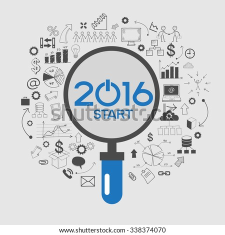 2016 text design on creative business success strategy. Concept modern template layout. 2016 text surrounded by doodle icons - stock vector