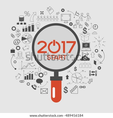 2017 text design on creative business success strategy. Concept modern template layout? 2017 text surrounded by doodle icons