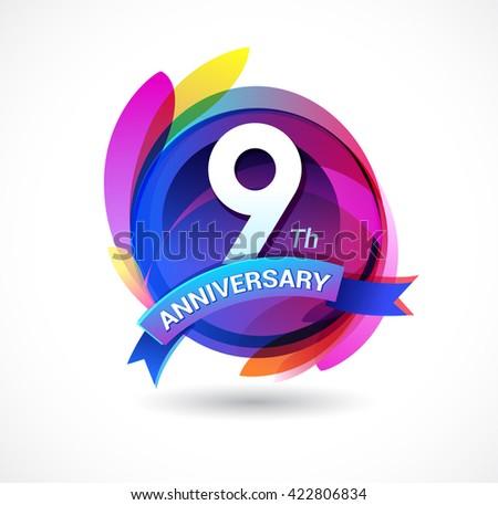 9th anniversary - abstract background with icons and ribbon - stock vector