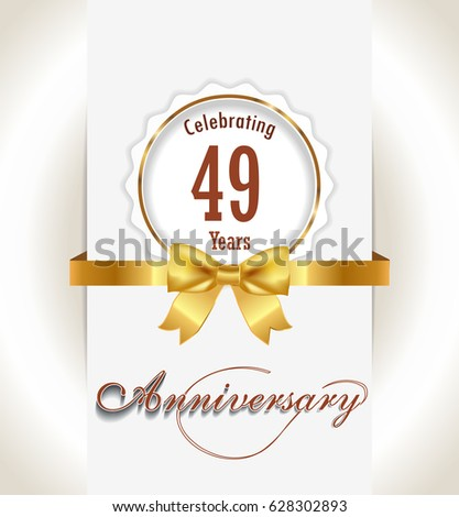 49th anniversary background 49 years celebration stock vector
