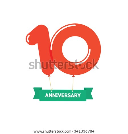 10th anniversary balloons poster red label. 10 years trend modern logotype icon sticker design. Ten years birthday party glossy balloon vector symbol. Tenth cartoon child style ribbon, emblem tag sign - stock vector