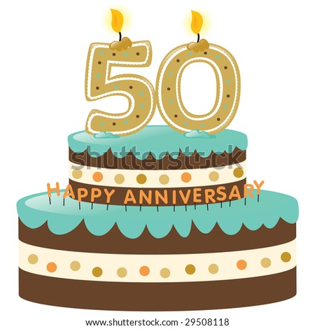 50th Anniversary Cake with Candles Isolated on white - stock vector