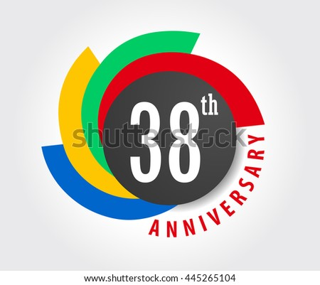 38th Anniversary celebration background, 38 years anniversary card illustration - vector eps10