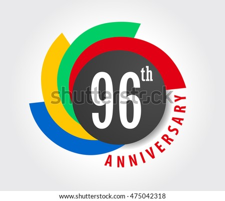 96th Anniversary celebration background, 96 years anniversary card illustration - vector eps10