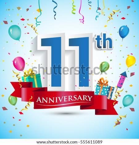 11 th anniversary celebration design gift box stock vector royalty