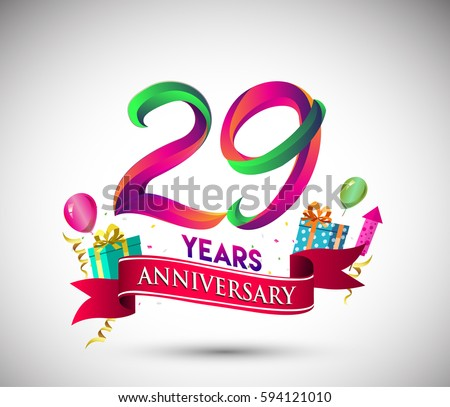 29th Anniversary Celebration Design Gift Box Stock Vector 594121010