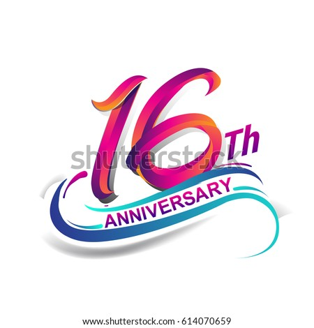 16th anniversary celebration logotype blue red stock vector royalty rh shutterstock com birthday logo shirts birthday logo shirts