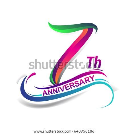 7th Anniversary Celebration Logotype Green Red Stock Vector