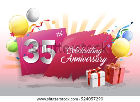 35th anniversary celebration with colorful confetti and balloon on red background with shiny elements. design template for your birthday party.
