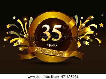 35th Anniversary Celebration Golden Ring Ribbon Stock Vector