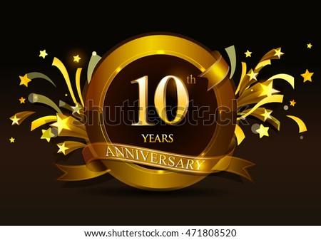 Th anniversary celebration golden ring ribbon stock vector