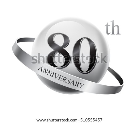 80th anniversary celebration with silver ring on white isolated background