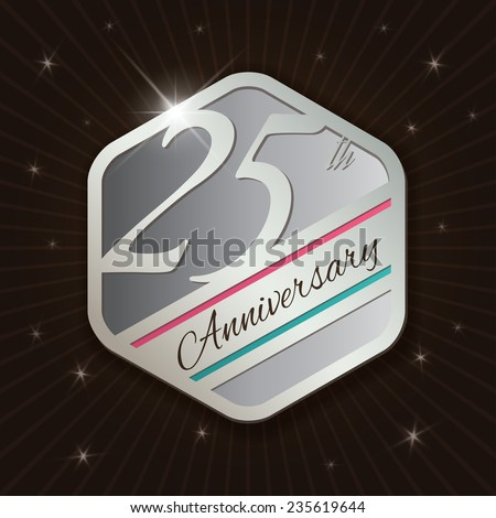 25th Anniversary - Classy and Modern silver emblem / Seal / Badge - vector illustration on  rays and stars background
