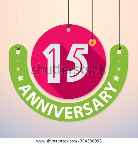 15th Anniversary - Colorful Badge, Paper cut-out