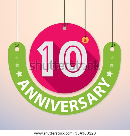 10th Anniversary - Colorful Badge, Paper cut-out