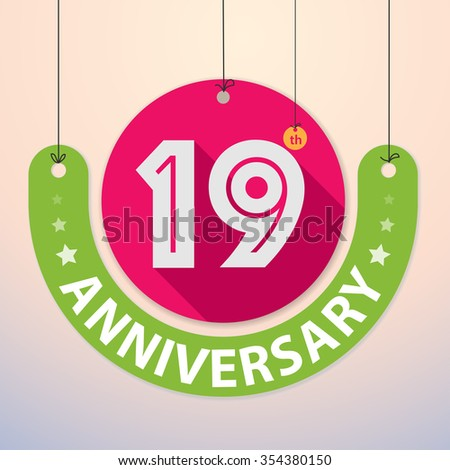 19th Anniversary - Colorful Badge, Paper cut-out - stock vector