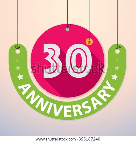 30th Anniversary - Colorful Badge, Paper cut-out - stock vector