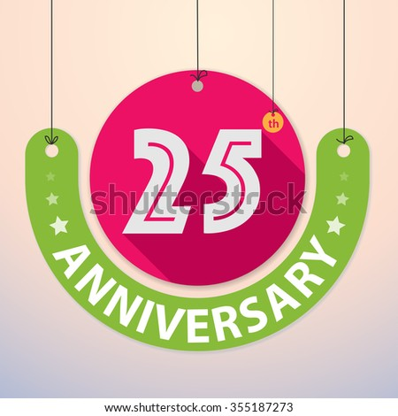 25th Anniversary - Colorful Badge, Paper cut-out