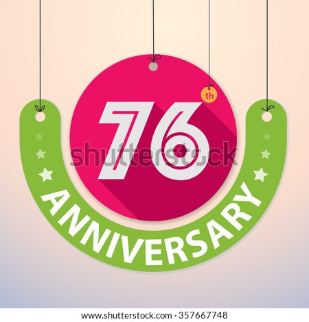 76th Anniversary - Colorful Badge, Paper cut-out - stock vector