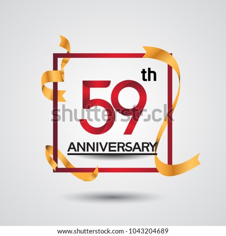 59th Anniversary Design Red Color Square Stock Vector 1043204689