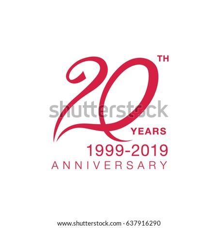 20th Anniversary Emblem Twenty Years Anniversary Stock Vector