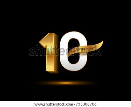 Th anniversary glowing logotype ribbon golden stock vector