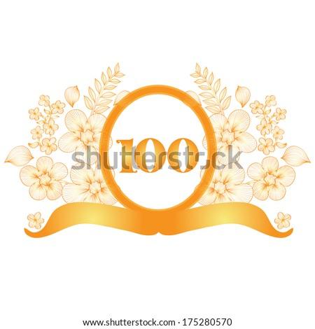 100th anniversary golden floral banner, design element - stock vector