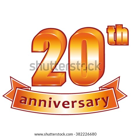 20th anniversary. Golden vector label. - stock vector