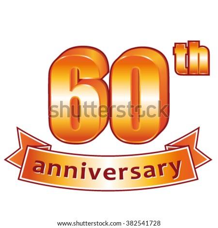 60th anniversary. Golden vector label. - stock vector