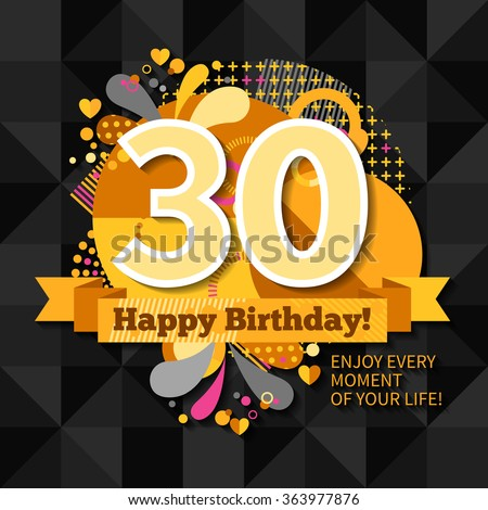 30th Anniversary Greeting Card Wishes Happy Stock Vector 363977876 Happy Birthday 30th Wishes