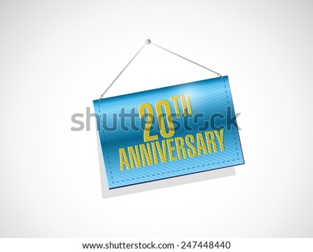 20th anniversary hanging sign illustration design over a white background - stock vector