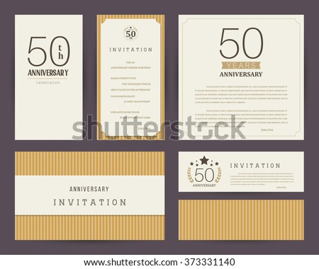50th anniversary invitation cards template stock vector royalty 50th anniversary invitation cards template stopboris Choice Image