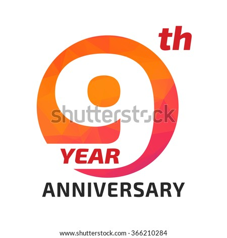 9th anniversary logo template in the circle form.  - stock vector