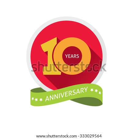 10th anniversary logo template  with a shadow on circle and the number 1 (one). 10 years anniversary icon. Ten years birthday party symbol. Tenth company. Promotion sale sticker ribbon, poster, emblem - stock vector