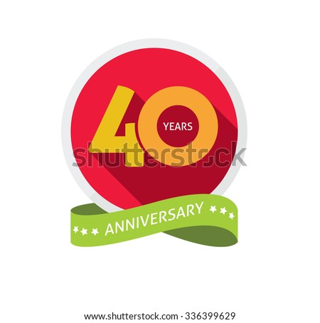 40th Anniversary Logo Template Shadow On Stock Vector ...