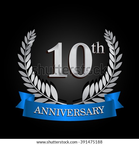 10th anniversary logo with blue ribbon. 10 years anniversary signs illustration. Silver anniversary wreath ribbon logo.