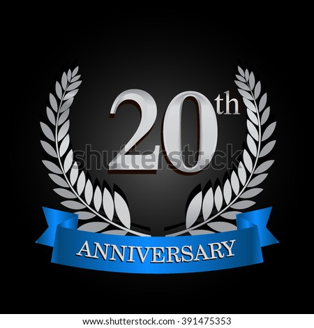20th anniversary logo with blue ribbon. 20 years anniversary signs illustration. Silver anniversary wreath ribbon logo.