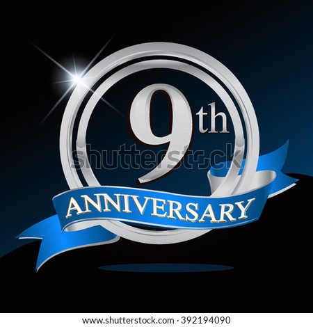 9th anniversary logo with blue ribbon. 9 years anniversary signs illustration. Silver anniversary logo with blue ribbon ring. - stock vector