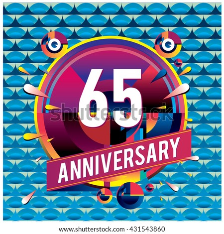 65th anniversary logo with colorful circle badge. Anniversary signs illustration. Vibrant colors anniversary logo with geometric shape and circle ring