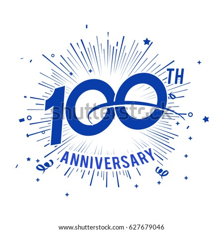 100th anniversary logo firework swoosh stock vector royalty free 100th anniversary logo with firework and swoosh altavistaventures Image collections